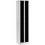 Ruimtebesparende garderobekast, compartimentbreedte 200 mm, afsluitbaar, 2 compartimenten, zwart