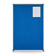 Ruimteverdeler magnetoplan, B 1250 x D 350 x H 1800 mm dubbelzijdig/metaal textiel, T-basis, duifblauw