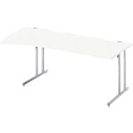 Rundbogenschreibtisch COMBITEC, B 2000 x T 800/1000 mm, weiß/weißalu