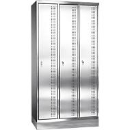 Rvs locker met poten, 3 compartimenten, cilinderslot, B 300 mm