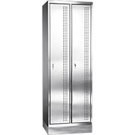 Rvs locker met poten, cilinderslot, 2 compartimenten, B300 mm,