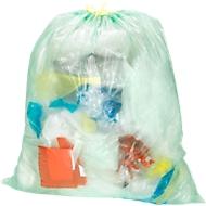 Sacs poubelle avec lien de serrage, 18 mµ, 60 litres, vert, 480 pièces