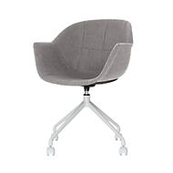 Schaalstoel, B 620 x D 575 x H 850 mm, 360° draaibaar, wielen, gestoffeerd, polypropyleen & staal, gelakt, grijs/wit, set van 2