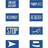 Schablonenset zur Fahrbahnmarkierung 8 x Schriften/Symbole