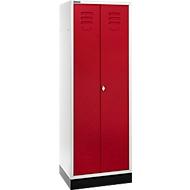 Schäfer-Kleiderspind, 2 Türen, mit Drehriegelverschluss, lichtgrau/rubinrot