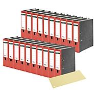 SCHÄFER SHOP ordner, A4, 80 mm, 20 stuks, rood + GRATIS scheidingsstroken, geel, 100 stuks