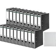 SCHÄFER SHOP ordner, A4, rugbreedte 80 mm, 20 stuks + GRATIS 1 PP ordner tabbladen A-Z, grijs