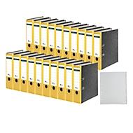 SCHÄFER SHOP Ordner, DIN A4, Rückenbreite 80 mm, 20 Stück + GRATIS 1 PP-Ordner-Register A-Z, gelb