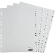 SCHÄFER SHOP Ordner-Register, Überbreite, Zahlen 1-10, grau