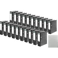 SCHÄFER SHOP Ordners met wolkenmarmerpapier, met gelijmde rugetiket, zwart, A4, 80 mm + SCHÄFER SHOP PP-Tabbladen, A4, A-Z GRATIS