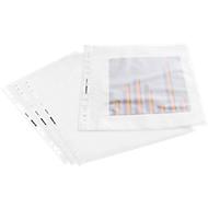 SCHÄFER SHOP Pochettes perforées transparentes en PP, A4, 80 microns, nervurées, ouverture en haut et sur le côté, 100 pièces