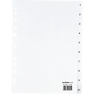 SCHÄFER SHOP PP ordner-indexbladen, A4-formaat, cijfers 1-10, wit