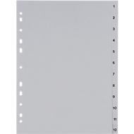 SCHÄFER SHOP PP ordner-indexbladen, A4-formaat, cijfers 1-12, grijs