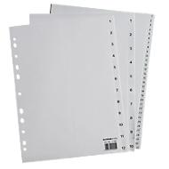 SCHÄFER SHOP Sparset Ordner-Register, Zahlen 1-10, jeweils 12 Sätze, grau