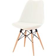 Schalenstuhl DOGEWOOD, Kunststoff, mit Holzbeinen, Sitzkissen, 2Stk. weiß