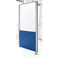Schallschutzwand System Alu Klett, Halbglasfassung, 1600 x 850 mm, dunkelblau/weißaluminium RAL 9006