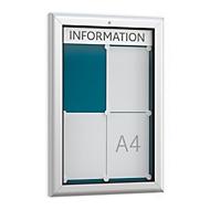 Schaukasten WSM, Hochformat, B 545 x T 45 x H 800 mm, für Innen & Außen, abschließbar, Rückwand blau
