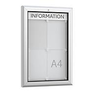 Schaukasten WSM, Hochformat, B 545 x T 45 x H 800 mm, für Innen & Außen, abschließbar, Rückwand weiß