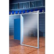 Scheidingswand paneel aluminium klittenband, acrylglas, 1800 x 850 mm, hoek naar keuze, blank aluminium