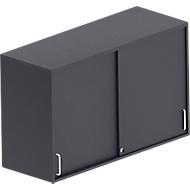 Schiebetüren-Aufsatzschrank BEXXSTAR, 2 Ordnerhöhen, Sichtrückwand, B 1200 mm, schwarz