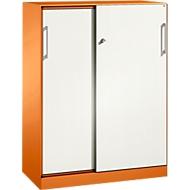 Schiebetürenschrank ASISTO C 3000, 3 Ordnerhöhen, mit Akustikfronten, Breite 1000 mm, orange/weiß