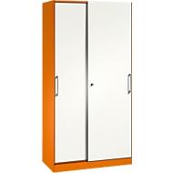 Schiebetürenschrank ASISTO C 3000, 5 Ordnerhöhen, abschließbar, Breite 1000 mm, orange/weiß
