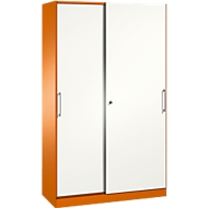 Schiebetürenschrank ASISTO C 3000, 5 Ordnerhöhen, abschließbar, Breite 1200 mm, orange/weiß