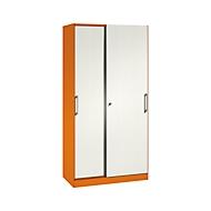 Schiebetürenschrank ASISTO C 3000, 5 Ordnerhöhen, mit Akustikfronten, Breite 1000 mm, orange/weiß