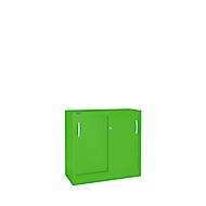 Schiebetürenschrank MS iCOLOUR, 2 Ordnerhöhen, B 1200 mm, apfelgrün RAL 6018