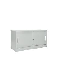 Schiebetürenschrank MS iCONOMY, Stahl, 2 Ordnerhöhen, B 1200 x T 400 x H 865 mm, lichtgrau RAL 7035