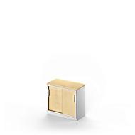 Schiebetürenschrank TETRIS SOLID, 1,5 OH, 1 Ablagefach, B 800 mm, Ahorn-Dekor/weißalu
