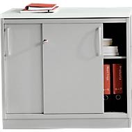 Schiebetürenschrank TETRIS SOLID, 1,5 OH, Ablagefach, B 800 x T 413 x H 717 mm, 25 mm Abdeckplatte, lichtgrau/weißalu