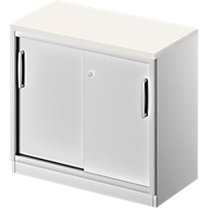 Schiebetürenschrank TETRIS SOLID, 1,5 OH, B 800 mm, Ablagefach, 25 mm Abdeckplatte, weiß/weißalu