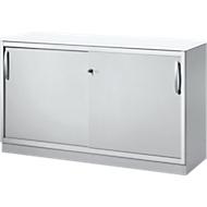 Schiebetürenschrank TETRIS SOLID, 2 OH, B 1200 x H 818 mm, Mitteltrennwand, 19 mm Abdeckplatte, weiß/weißalu