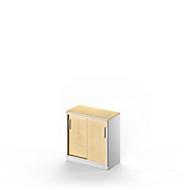 Schiebetürenschrank TETRIS SOLID, 2 OH, B 800 x H 818 mm, inkl. 19 mm Abdeckplatte, Ahorn-Dekor/weißalu