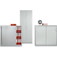 Schiebetürenschrank TETRIS SOLID, 3 OH, B 1200 x H 1170 mm, Mitteltrennwand, 19 mm Abdeckplatte, lichtgrau/weißalu