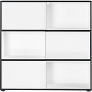 Schiebetürregal Laredo, 3 OH, 6 Fächer, 3 Schiebetüren, B 1200 x T 350 x H 1190 mm, weiß/schwarz