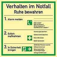 Schild mit Notfallverhaltensregeln