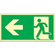 Schild Rettungsweg, linksweisend, HLK