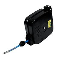 Schlauchaufroller CEMO, Stahlblech, für Druckluft, geschlossen, max. 20 bar, Schlauchlänge 15m, B 374 x T 337 x H 160 mm
