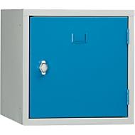 Schließfach Würfel, Türanschlag rechts, Drehriegelverschluss, erweiterbar, Stahl, Tür lichtblau RAL 5012