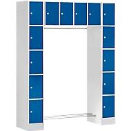 Schließfachgarderobe, 2 Säulen + Oberschrank, 2 x 5 + 4 abschließbare Fächer, Kleiderstange, Feinblech, lichtgrau/enzianblau