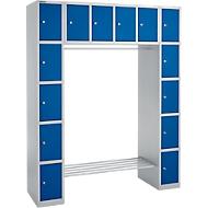 Schließfachgarderobe, 2 Säulen + Oberschrank, 2 x 5 + 4 abschließbare Fächer, Kleiderstange, Feinblech, weißalu/enzianblau