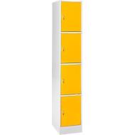 Schließfachsäule S4/4, mit Zylinderschloss, lichtgrau/gelb