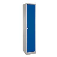 Schließfachschrank, Stahl, Zylinderschloss, mit Etikettenhalter, 1 Fach, hellsilber/enzianblau RAL 5010