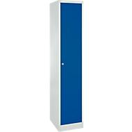 Schließfachschrank, Stahl, Zylinderschloss, mit Etikettenhalter, 1 Fach, lichtgrau RAL 7035/enzianblau RAL 5010