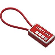 Schlüsselanhänger Sisimiut, aus Metall und Kunststoff, L 84 x B 28 x H 11 mm, rot