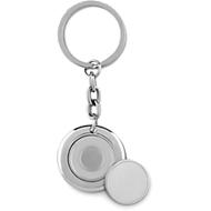 Schlüsselring mit Einkaufswagenchip Flat Ring, L ca. 58 mm, Ø ca. 35 mm, Lasergravur Ø 11 mm