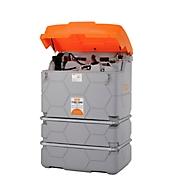 Schmierstofftankanlage CEMO CUBE Outdoor Premium, 230 V Elektropumpe, 15 m Schlauch, Klappdeckel, 1000 l Volumen