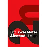 Schmutzfangmatte 2m Abstand halten, Design 7, für innen, Polyamid/Vinyl, L 1800 x B 1200 mm, rot/schwarz/weiß